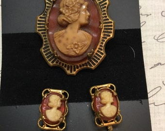 Vintage Cameo Brooch and Earring Set
