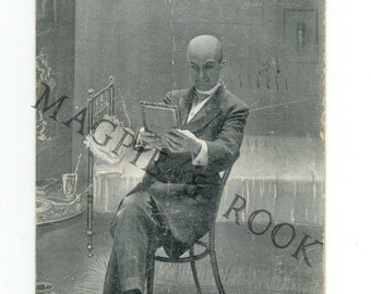 Creepy Bald Man Antique Postmarked Postcard - Black and White Illustration - There Will Be No More Parting There