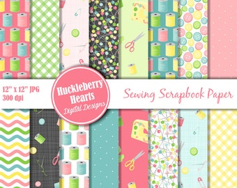 80% OFF SALE Sewing Scrapbook Paper, Digital Sewing Paper, Printable, Commercial Use