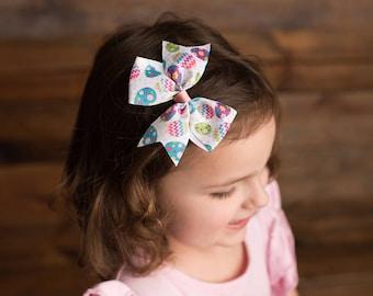 Easter Egg Bow, Pinwheel Hair Bow, Easter Hair Bow, 4inch Hair Bow, 5inch Hair Bow, Toddler Hair Bow