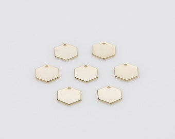 10pcs -Stamping Bar pendant Blank Hexagon Bar, Polished Gold Plated brass, 10.5mm Name Plate - ...