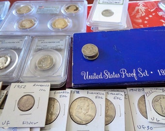US Coin Lot: PCGS Coins,Slab Coin, Proofs,Steel Penny,  Mercury Dime , Half Dollar Coin , Quarters, Nickels, Wheat Penny Roll