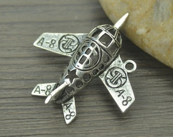 "3 Aircraft steampunk, jewelry, vintage,  tibetan silver charms approx.1-1/2"" x 1-1/2"" US Shipper Quick"
