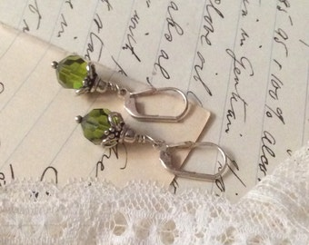 Vintage Green Peridot Stone and Etruscan Filigree Sterling Silver Drop Dangle Earrings