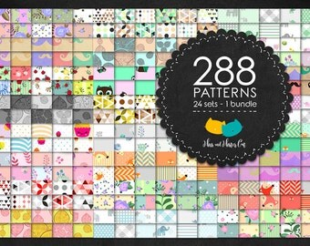 24 sets with 288 patterns. Geometric digital papers, flowers, baby foxes patterns, baby elephants, Kittens, kawaii cupcakes and more.