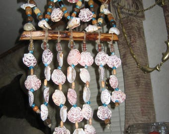 Seashell Windchime w/ medium Scallops,foil lined glass beads&painted wood beads 'Handmade by me'