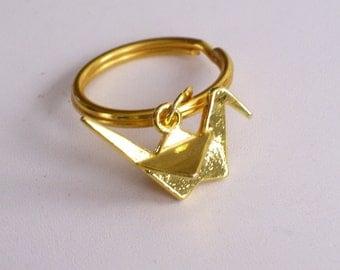 Origami Crane Keychain, Gold Bird Keychain, Gold Crane Key Ring, Gold Origami Crane Key Ring, Girls Keychain, Gold Bird Key Ring, 3D Bird
