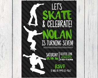 Skateboard Party: Personalized birthday invitation- ***Digital File*** (Skateboard-Green)