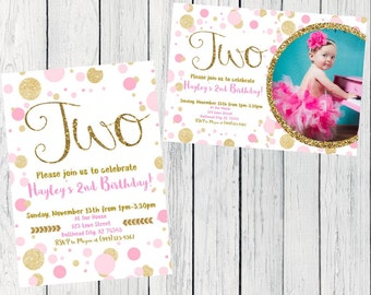TWO Pink & Gold Birthday Invite***Digital File*** (Two-Polkagld)