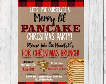 Pancake Christmas Breakfast or Brunch / Holiday party***Digital File***  (Christmas-Pancake13)