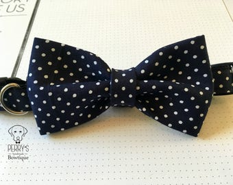 Navy Polka Dot Bow Tie and Collar OR Bow Tie Only *OPTIONAL