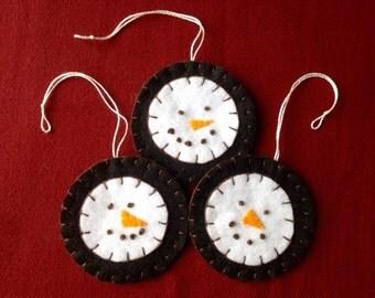 Set of Three Primitive Penny Snowman Ornaments