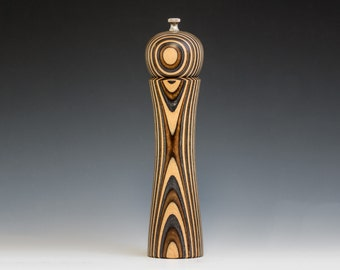 """Colorful, Handmade 10"""" Peppermill - Laminated , natural birch, brown and charcoal"""