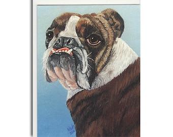 English Bulldog Notecard - Bulldog Card - Dog Stationary