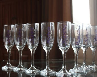 Bridal Party Champagne Glasses!