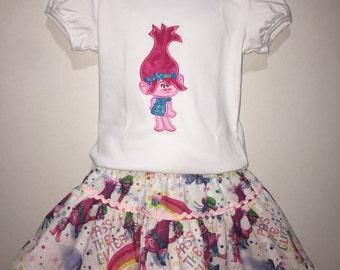 Girls Trolls Poppy Troll Boutique Birthday Skirt Set Embroidered Shirt Twirly Skirt! Toddler Baby Infant Birthday Party 2 3 4 5 6 7 8 10 12