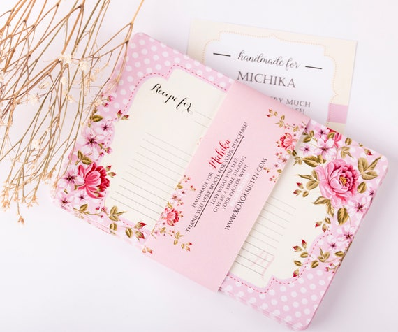 Custom Monogram Recipe Cards Floral Recipe Cards Bridal Shower Recipe Cards (SET OF 36)