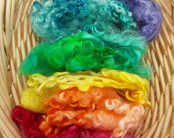 Rainbow hand dyed wool curls, Teeswater curls, Masham curls, for use in textile , spinning, felting , needle felting 50g