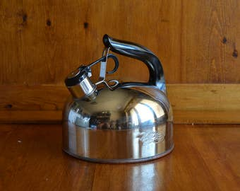 Tea Kettle Whistling Revere Ware Copper Bottom made in China