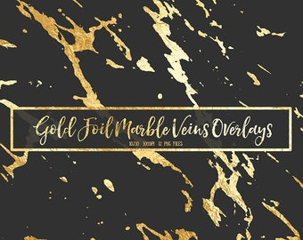 Gold Foil Marble Veins Digital Clipart Overlay  - gold marble, glitter, metallic, marble clipart, marble texture, scrapbooking, invitations