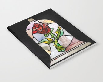 The enchanted Rose notebook, Beauty and the beast, Enchanted rose journal, diary, Traveler's notebook, Valentine's gift, Free SHIPPING