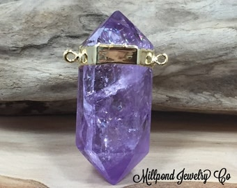 Amethyst Point Pendant, Double Terminated Amethyst Connector, Purple Pendant, Natural Stone Pendant, 24K Gold Plated, Amethyst Connector