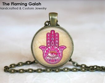 PINK HAMSA HAND Pendant •  Evil Eye •  Hand of God •  Protection •  Happiness •  Gift Under 20 • Made in Australia (P1337)