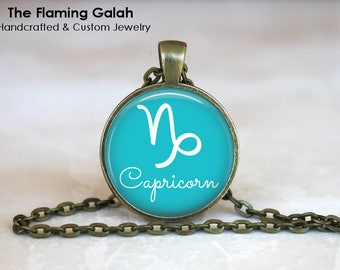 CAPRICORN SYMBOL Pendant • January Star Sign • January Birth Sign • Capricorn Zodiac • Astrology • Gift Under 20 • Made in Australia (P1087)