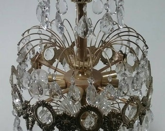 Mid century brass and crystal hanging chandelier Hollywood regency vintage hanging light