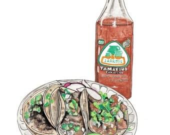 Lily's Tacos // Jarritos // Tamarindo // Mexican Food // Watercolor // Painting // Art Print