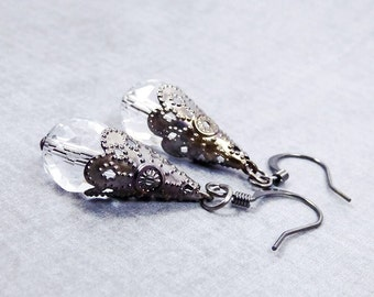 Victorian Earrings, Crystal Earrings, mothers day for wife, boho jewelry, Statement inspirational earrings, best selling items
