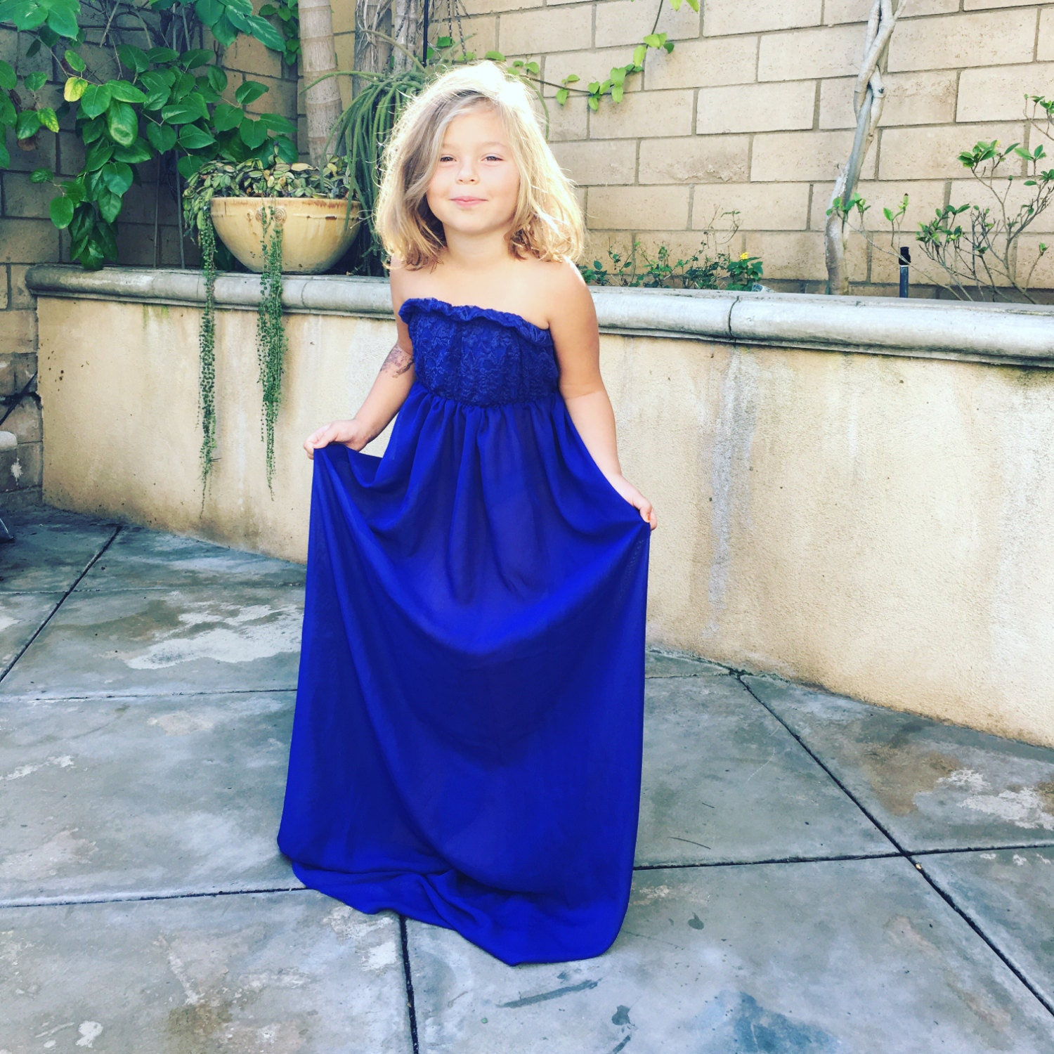 Royal blue Chiffon-Lace Girl Dress, Children gown, Matching to ...