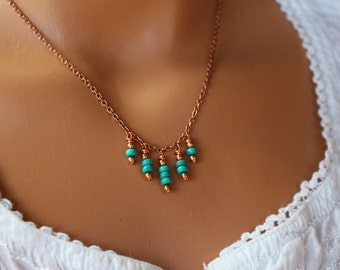Copper and turquoise necklace, beaded gemstone necklace, boho chic turquoise necklace, beaded necklace, womens necklace, gift for her