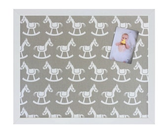 Grey Rocking Horse Fabric Magnetic Board / Nursery / Baby Shower Gift / Magnetic Bulletin Board