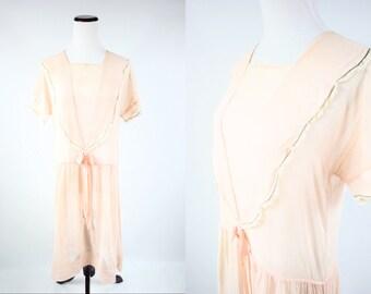 1920's Peach Bow Bib Lace Dress