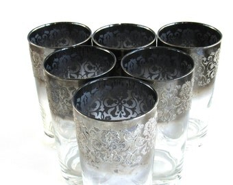Silver Ombre Vitreon Queen's Lusterware Set of 6 Cocktail Tumblers Mid Century Modern Bar Cart Vintage Embossed Floral Silver Fade Mad Men