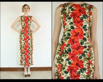 1950s/ 1960s Hawaiian Tiki red floral novelty print maxi dress, size small