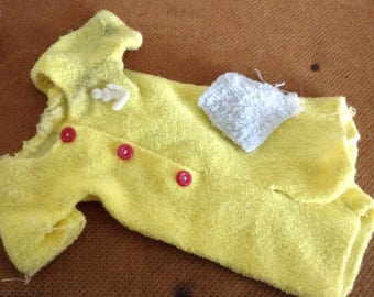 Vintage Yellow Tery Cloth Doll Sleeper and Washcloth