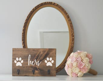 Hers Single Paw Key Holder and Dog Leash Holder, Entryway Organizer, Key Organizer, Wedding Gift, Housewarming Gift, Key Hooks, Leash Holder
