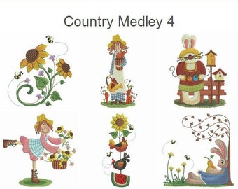 Country Medley 4 Machine Embroidery Designs Pack Instant Download 4x4 hoop 10 designs APE2430