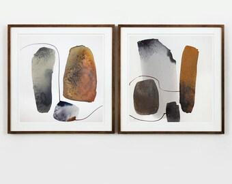 Diptych / Abstract Watercolor, Original Art - Abstract Painting / Modern Art / Abstract Diptych - Contemporary Art / Minimal Watercolor