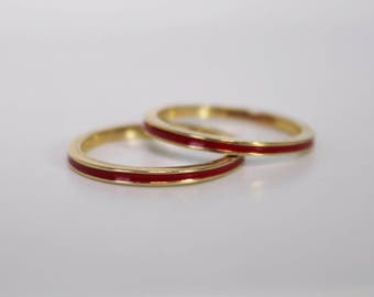 14k Yellow Gold Red Enamel Stacking Rings, Vintage 1990s Ring, Set of Two, Solid Gold and Enamel, Stackable, Ready to Ship Size 7