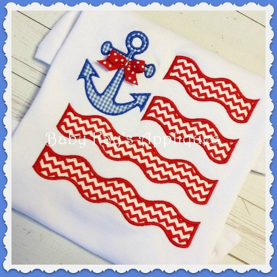 Anchor FLAG Tee, Bodysuit, Dress, Bubble, Unisex Bubble, Ruffle Bubble, Romper, Flutter Bubble, Patriotic Applique, Flag Applique