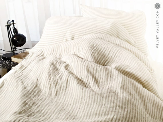Off White Taupe Linen Duvet Cover And Pillow Sham By