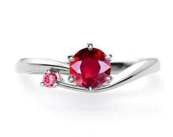 Unique 1 Carat Round Ruby and Diamond Solitaire Engagement Ring with Ruby in 14k White Gold affordable Ruby & diamond engagement ring