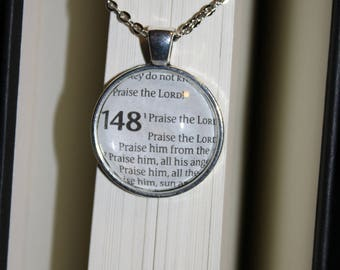 Psalm 148 Book Page Necklace