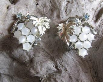 Retro White Grape Clip On Earrings Silver Tone and Delicate Blue Rhinestones