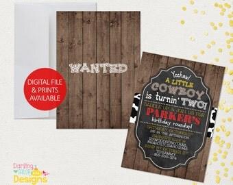 Cowboy Birthday Invitation, Western Birthday Invitation, Western Birthady, Digital File or Prints, Chalkboard, Party Invitation