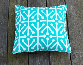 Let's Play Jacks Pillow Cover- Tropical Green and White Decorative Couch Pillow 16x16- Ready to Ship