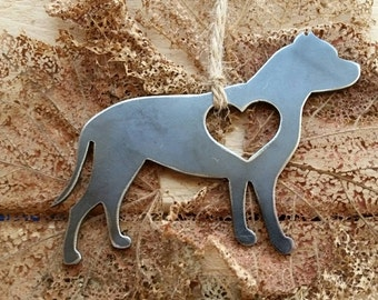 Pitbull Dog Metal Ornament Love Steel Heart Christmas Tree Ornament Holiday Gift Industrial Decor Wedding Favor By BE Creations